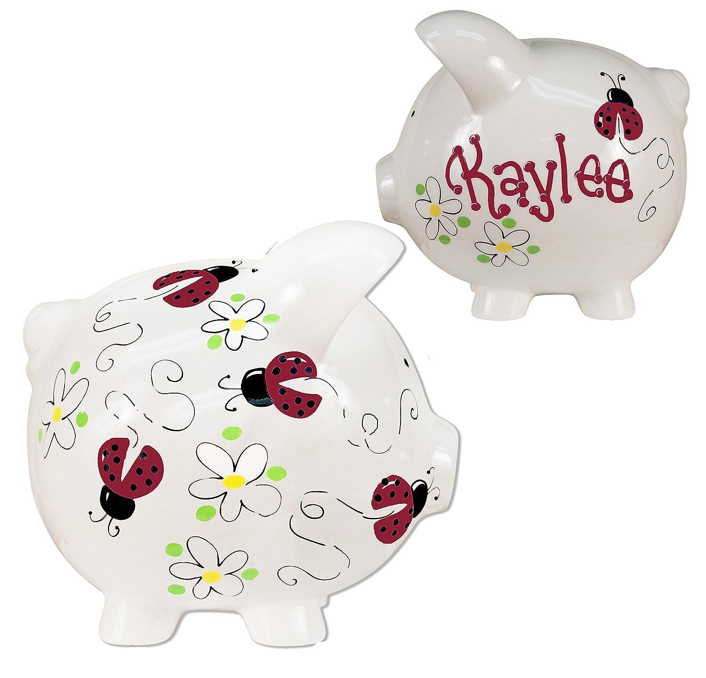Girls Hand Painted Personalized Pink Ladybug Piggy Bank Large White Ceramic piggybank Baby Gift