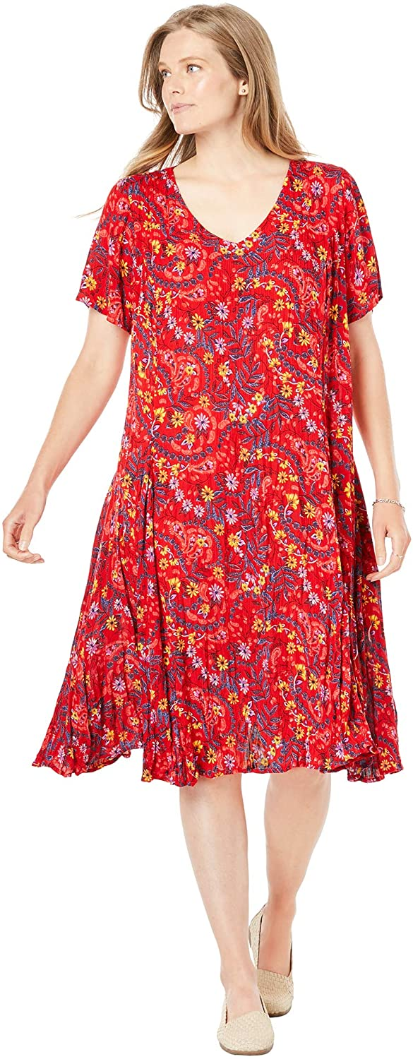 NEW Woman Within Crinkle Maxi Dress PEACH Floral Short Sleeve PETITE 20-34