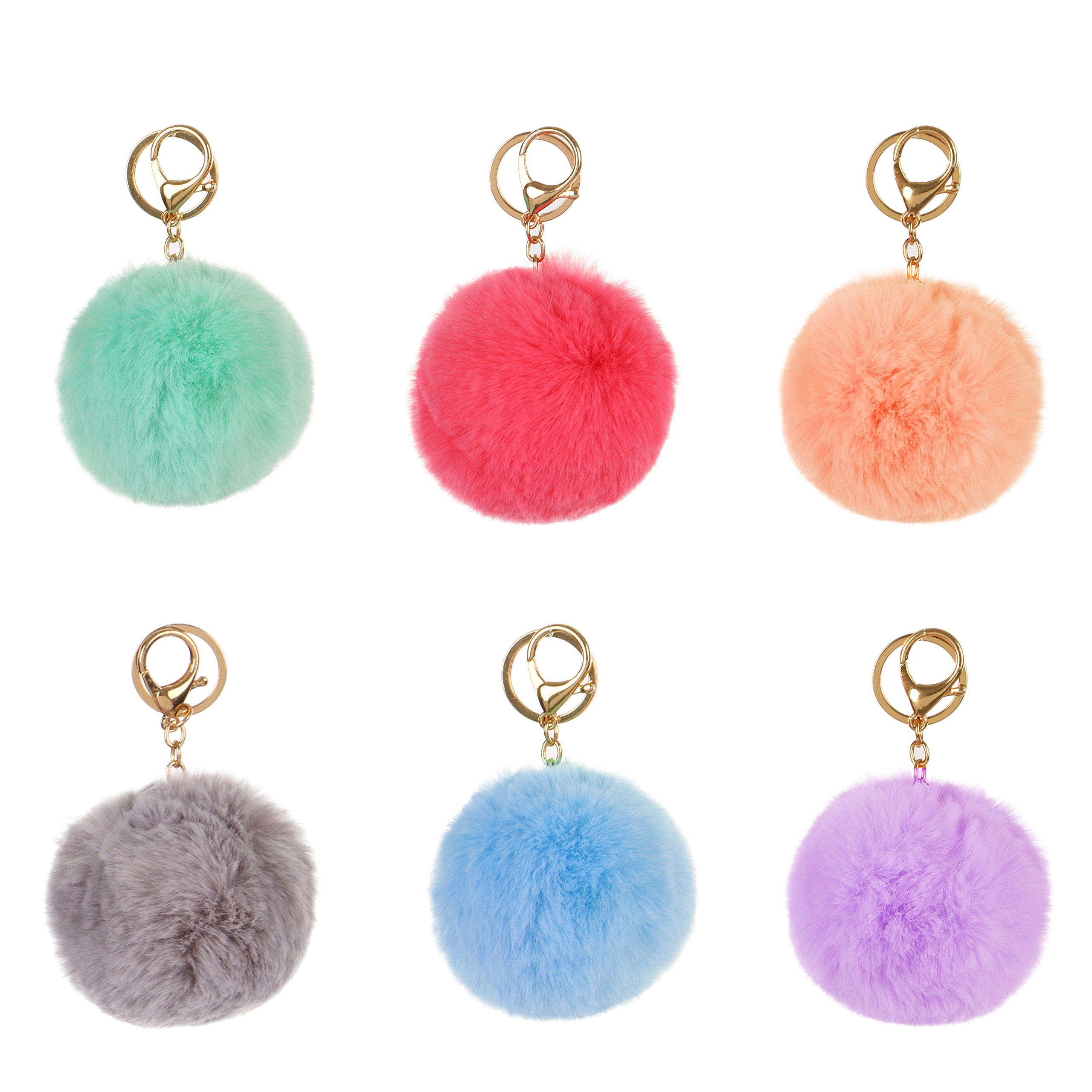RufnTop 6 PCS PomPom KeyChain Gold Ring Hand bag Accessories(6 PCS PASTEL MIX2)