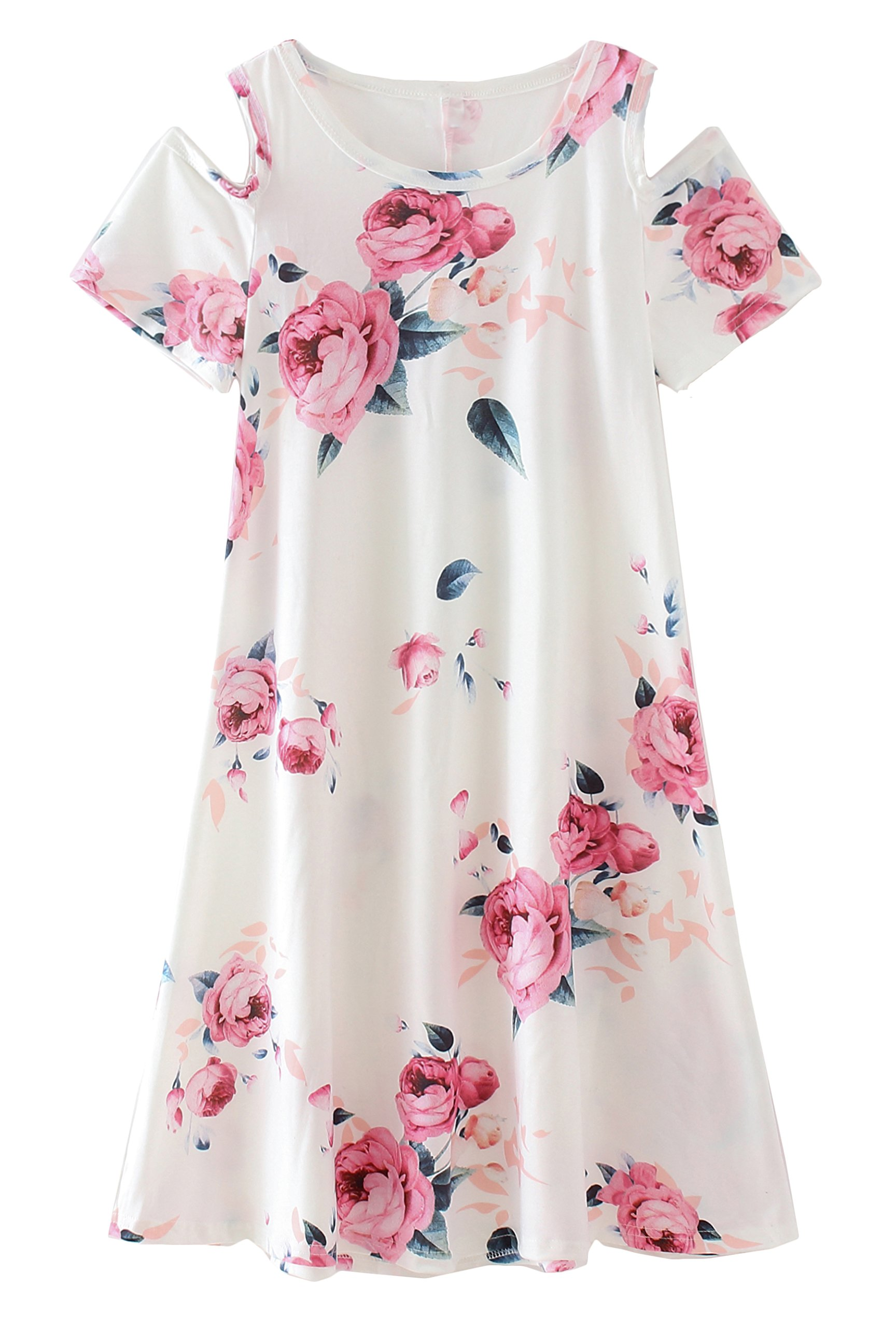COONITA Girl's Kids Cute Cold Shoulder Floral Print A-Line Loose Casual Midi Tank Dress,Size 12,White