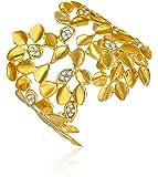 "Alex Woo ""Vida"" Diamond and 14k Yellow Gold Leaf Cuff Bracelet"