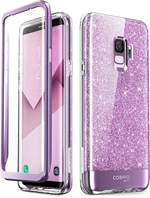 i-Blason Coque Galaxy S9, Coque Complète Brillante Glitter Bumper avec Protecteur d'écran Intégré [Série Cosmo] pour Samsung Galaxy S9 2018, Violet