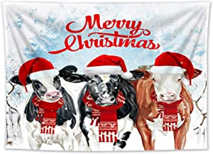 LB Christmas Cow Tapestry Farmhouse Animal Dairy Cattle Tapestry Wall Hanging Xmas Winter Ice Snow Tapestry for Bedroom Living Room College Dorm Decorations Wall Art Decor 60x40 inch