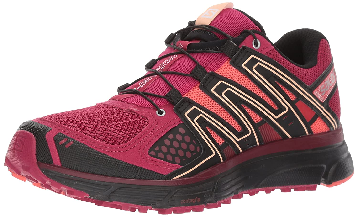 Salomon Women's X-Mission 3 W-w B01N1J0UME 8.5 B(M) US|Sangria/Coral Punch/Black