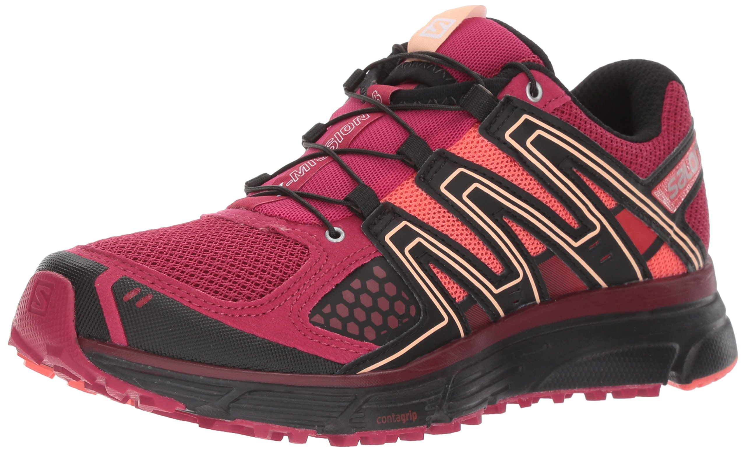 Salomon Women's X-Mission 3 W Trail Runner, Sangria/Coral Punch/Black, 7.5 M US