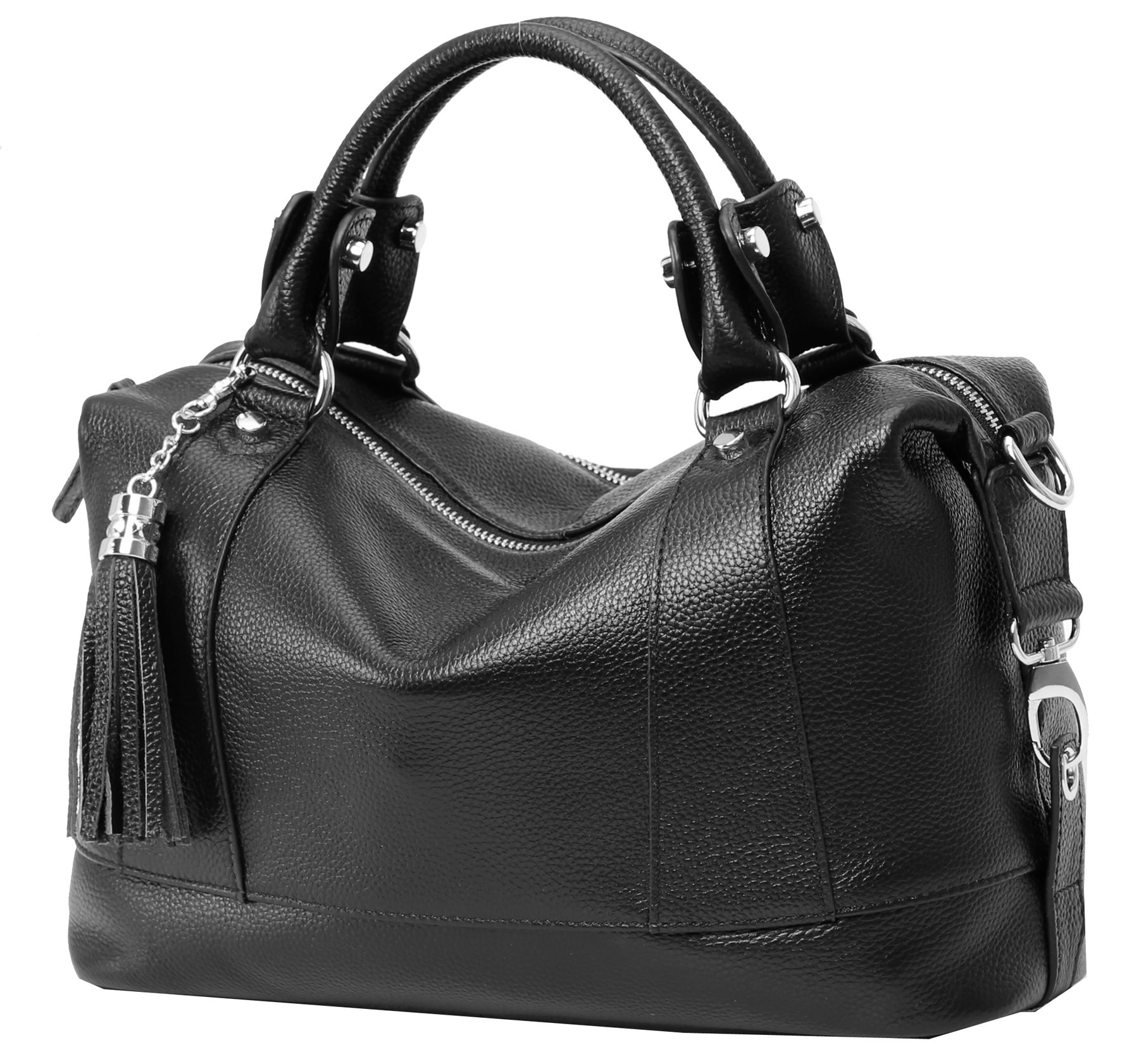 Heshe Leather Shoulder Bag Womens Tote Top Handle Handbags Cross Body Bags for Office Lady (Black)