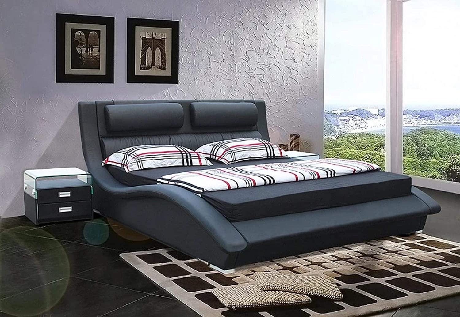 Amazon.com: My Aashis Luxury Leather King Size Soft Bed Furniture