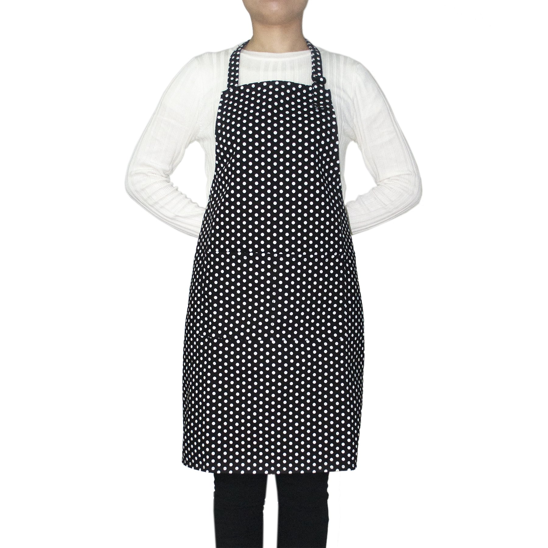 Opromo 12-Pack Cotton Canvas Adjustable Chef Kitchen Aprons-Black Dot-XL
