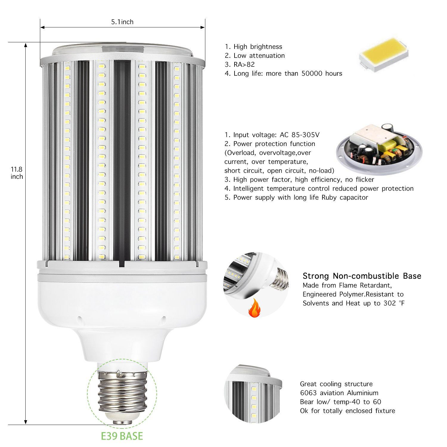 120w Led Corn cob Light Bulb E39 Base, 5000K 15600lm AC100-277V,CFL HID HPS Metal Halide(500w) Replacement for Street and Area Light Factory Warehouse High Bay Work Light Parking Lot Super by AINIYO (Image #2)
