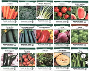 Heirloom Vegetable Garden Seed Collection – Assortment of 15 Non-GMO, Easy Grow, Gardening Seeds: Carrot, Onion, Tomato, Pea, Cucumber, Beets, Basil, More