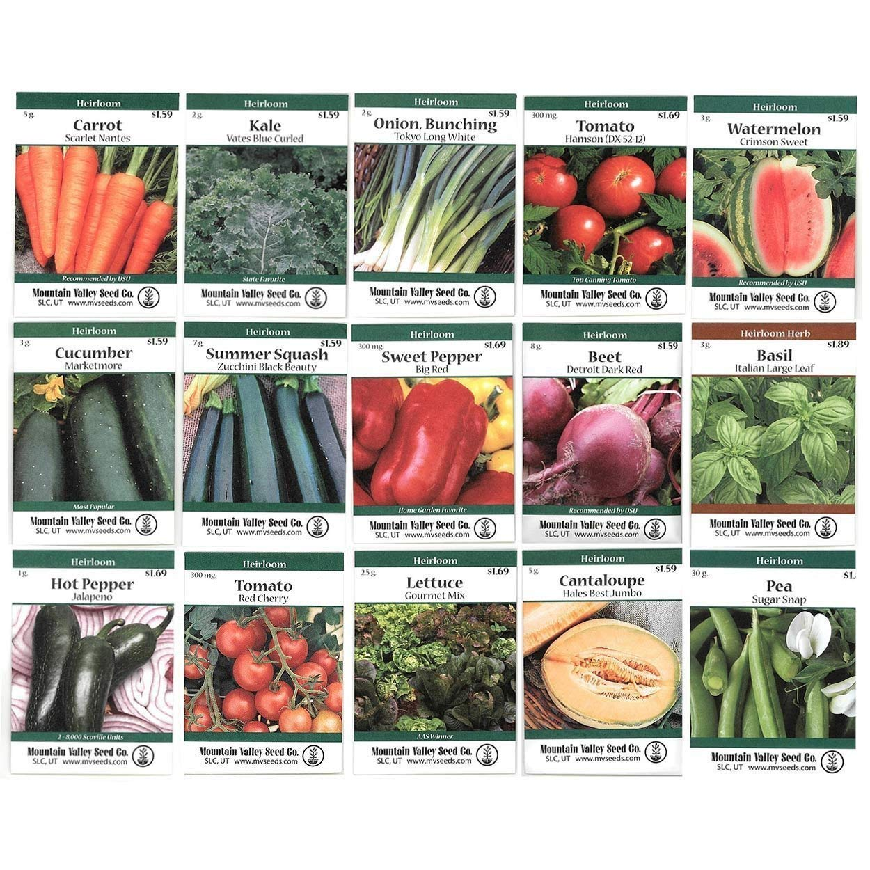 Heirloom Vegetable Garden Seed Collection