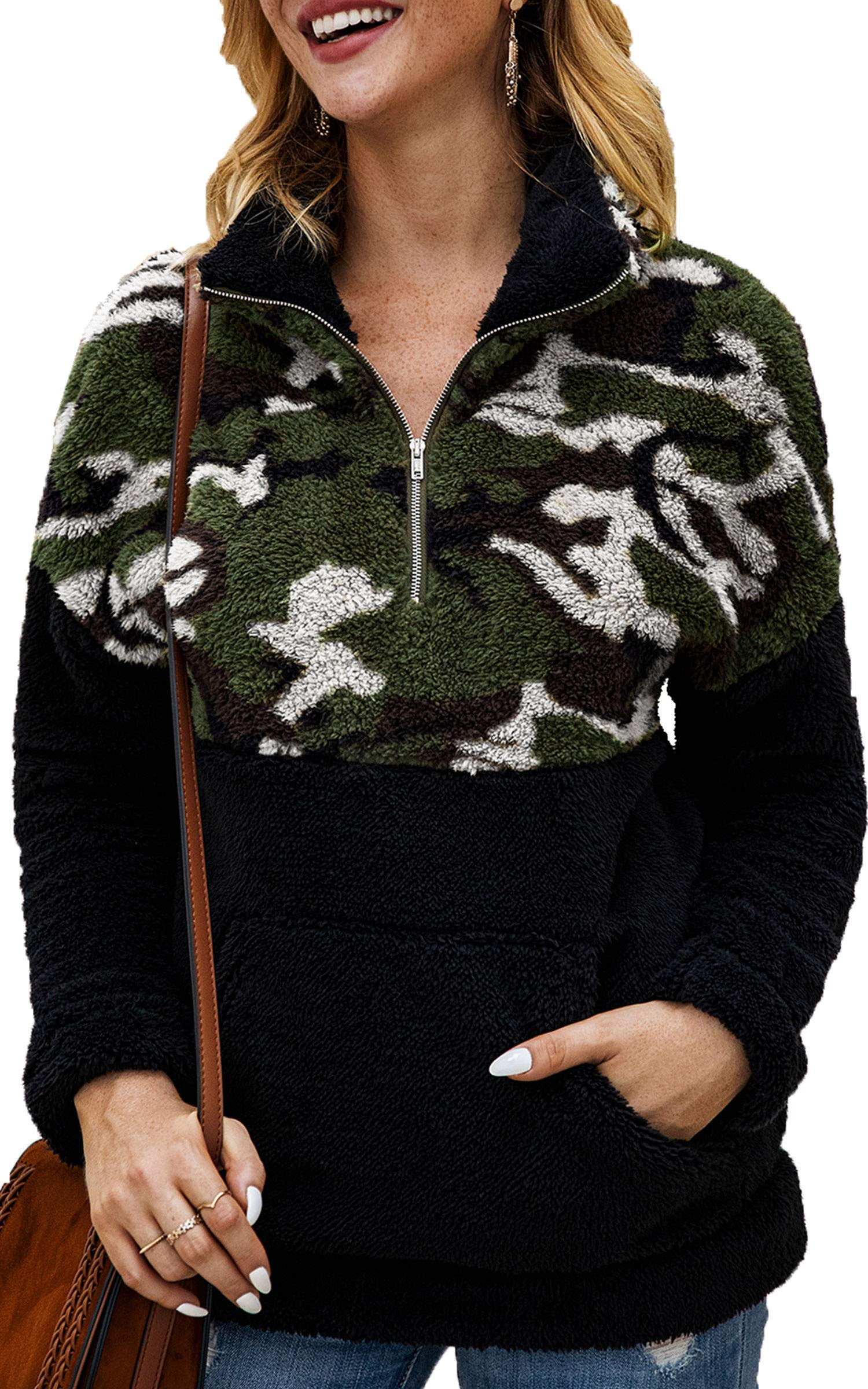 Angashion Womens Long Sleeve Half Zip Up Warm Fuzzy Camouflage Print Patchwork Fleece Pullover Tops with Pocket for Winter 359Black White M by Angashion