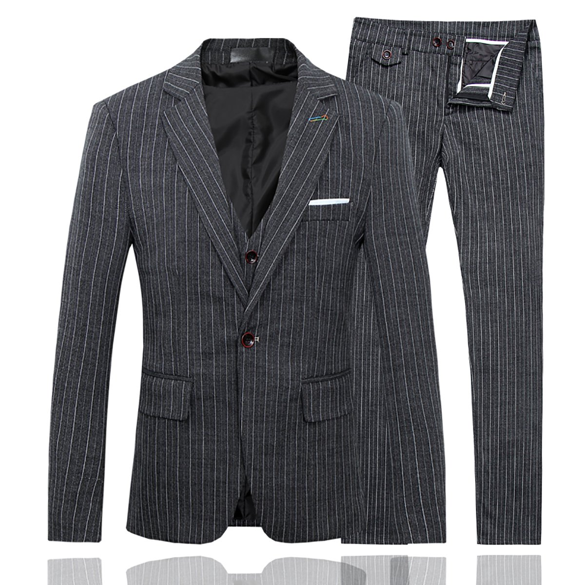 1920s Mens Suits | Gatsby, Gangster, Peaky Blinders Mens Plaid Modern Fit 3-Piece Suit Blazer Jacket Tux Vest & Trousers $82.99 AT vintagedancer.com