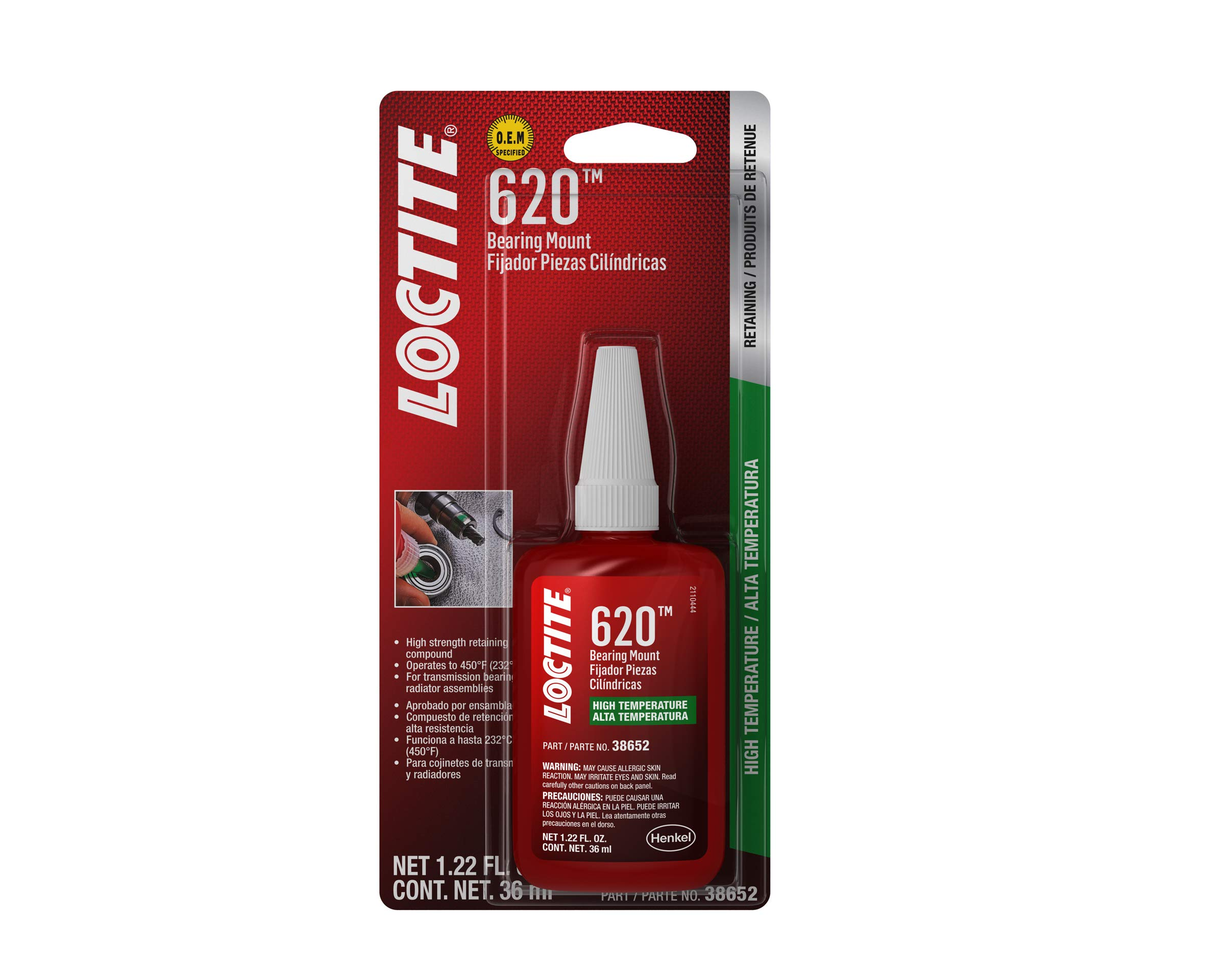 Loctite 555338 620 High Temperature Bearing Mount Bottle, 36-Milliliter