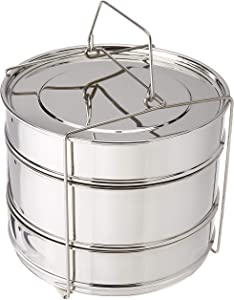 Chiboz Cookware 8 Qt 3 Tier Stackable Steamer Insert Pans with Sling Handle compatible with Instant Pot 8 Quart