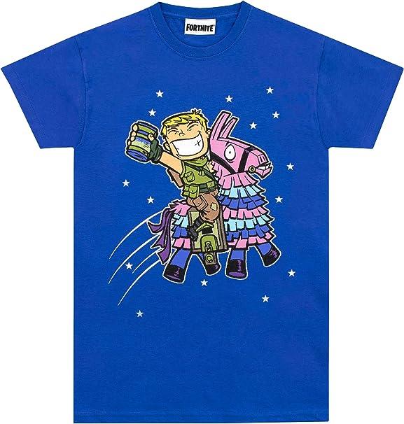 Fortnite Camiseta de Manga Corta para niños Llama Azul 7-8 Años ...
