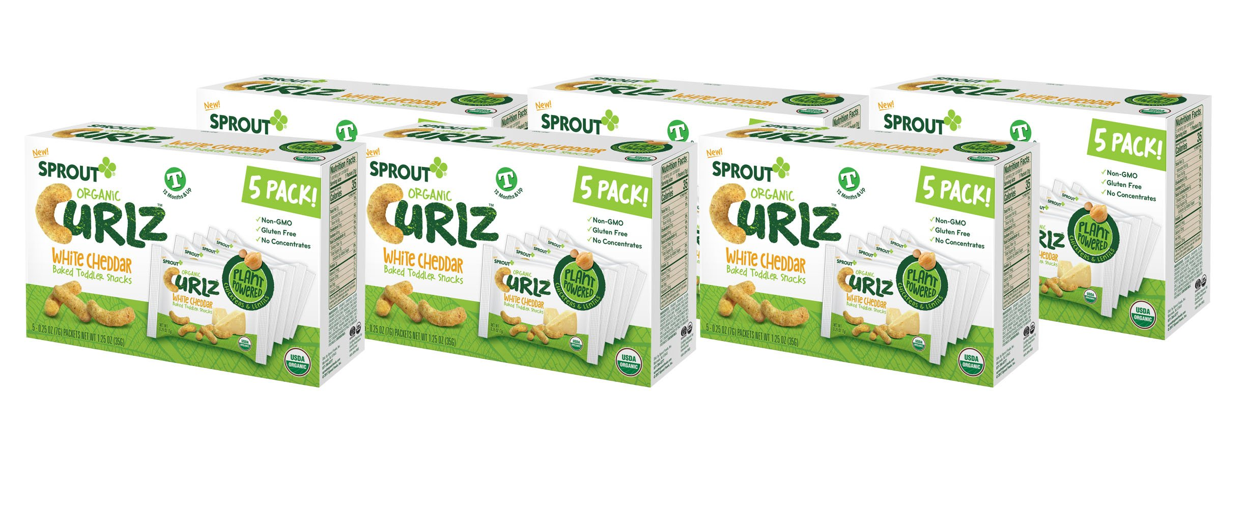 Sprout Organic Baby Food, Sprout Organic Curlz Toddler Snacks, Case of 30 White Cheddar Curlz packs (6 boxes, 5 packets per box)  Powered, Gluten Free, USDA Certified Organic, Nothing Artificial