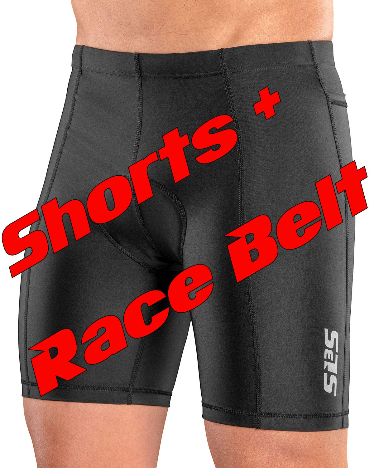 SLS3 Triathlon Shorts Men + Race Belt | 2 Pockets Tri Shorts Men | Trisuit Triathlon Men M by SLS3 (Image #2)