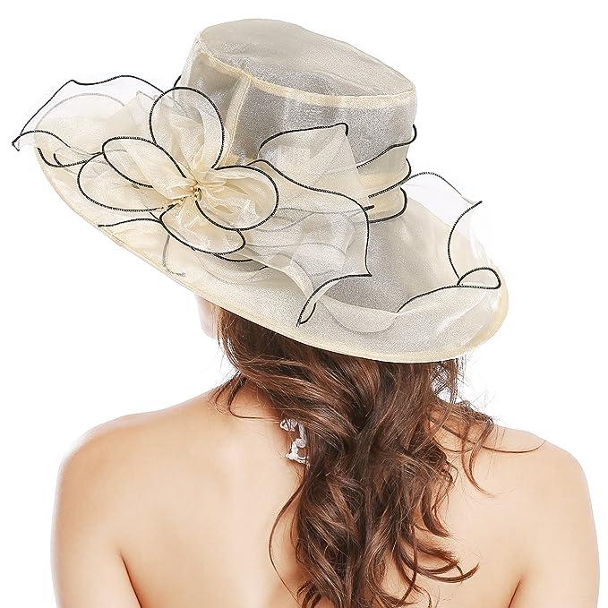 717d62138cd7e Bellady Women Floral Wide Brim Tea Party Wedding Hats Church Derby Kentucky  Dress Cap