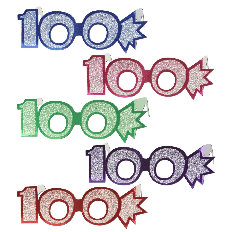 Beistle 54840-100 25-Pack''100'' Glittered Foil Eyeglasses
