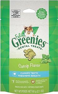 Feline GREENIES Adult Dental Cat Treats, Catnip Flavor, 2.1 oz. Pouch