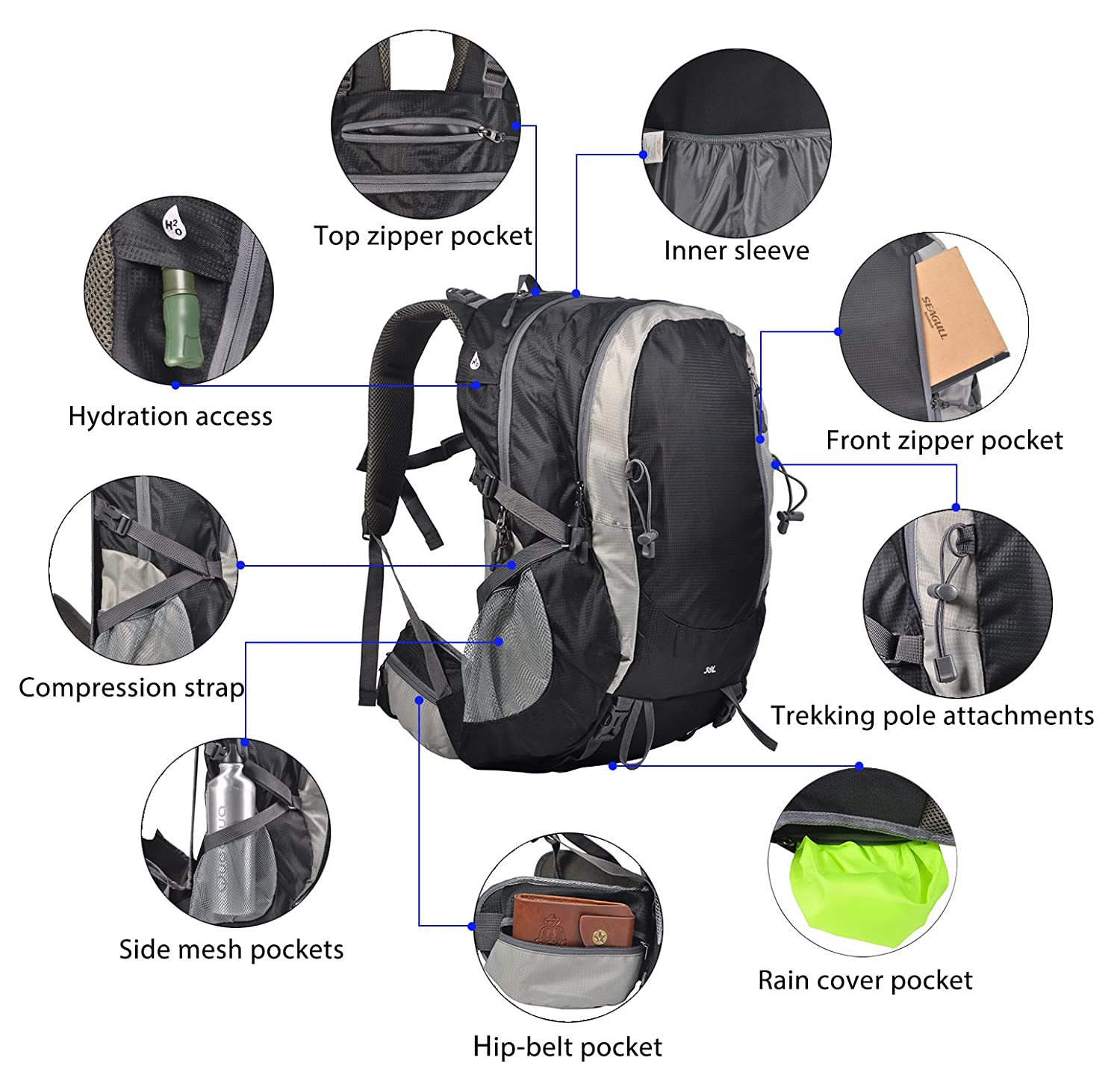 27d8cfc3b092 MIER 38L Hiking Backpack Waterproof Rain Cover Trekking Camping  Mountaineering Climbing, Outdoor Internal Frame Backpack Men, Women, Youth