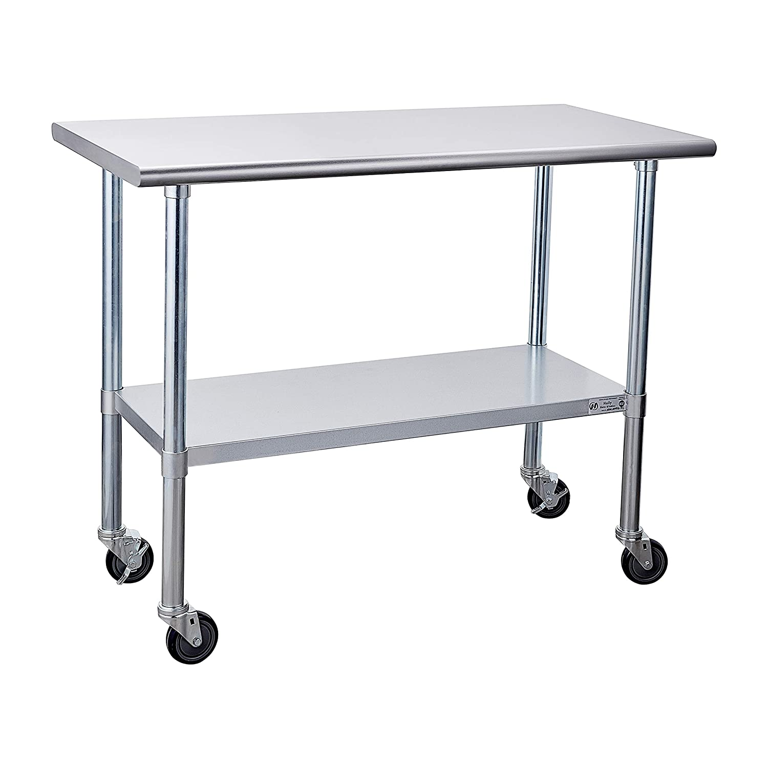 Stainless Steel Table for Prep & Work 24 x 48 Inches with Caster Wheels, NSF Commercial Heavy Duty Table with Undershelf and Galvanized Legs for Restaurant, Home and Hotel