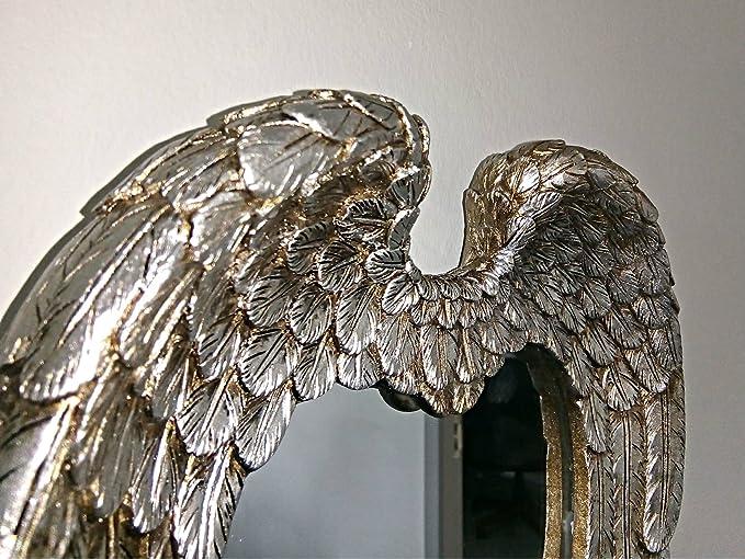 Parete Camera Da Letto Argento : Homezone anticata argento angel wings specchio da parete vintage