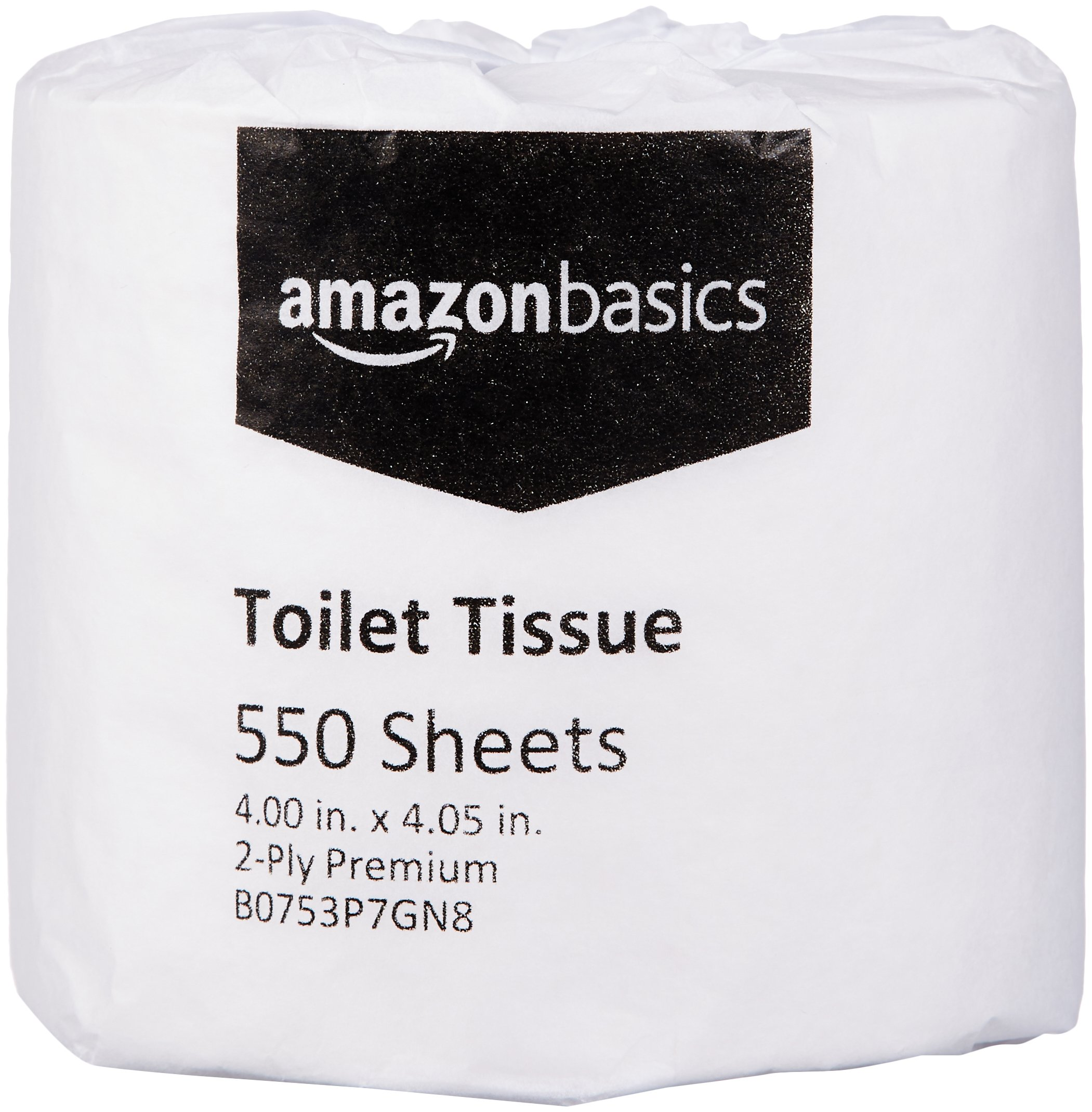 AmazonBasics Professional Toilet Tissue for Businesses, 2-Ply, 550 Sheets per Roll, 80 Rolls