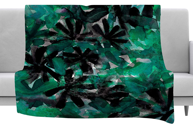 Kess InHouse EBI Emporium Snowy Stars 5 Green Black Painting Throw 40 x 30 Fleece Blanket