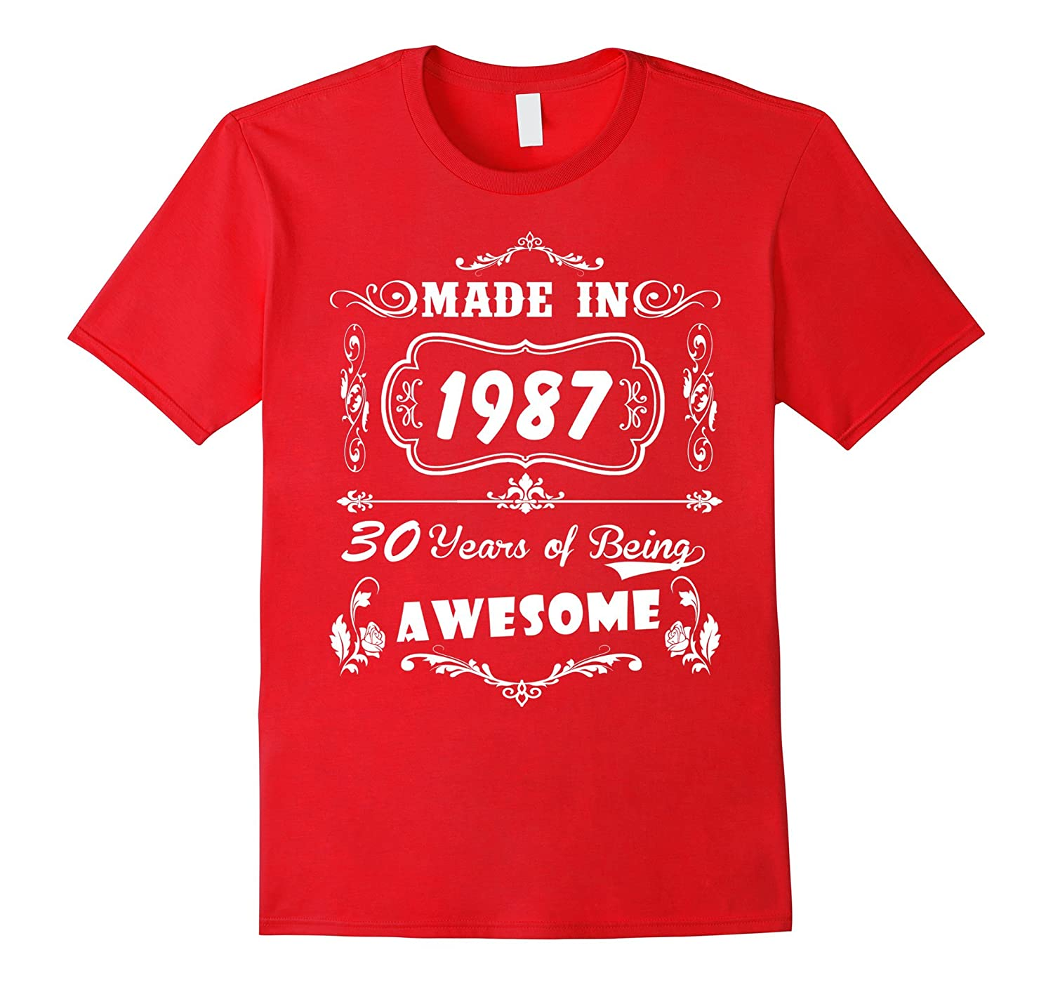 Womens 30th Birthday Gift Made In 1987 Awesome T Shirt-TH