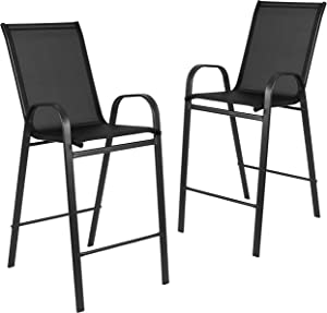 Flash Furniture 2 Pack Brazos Series Black Outdoor Barstool with Flex Comfort Material and Metal Frame