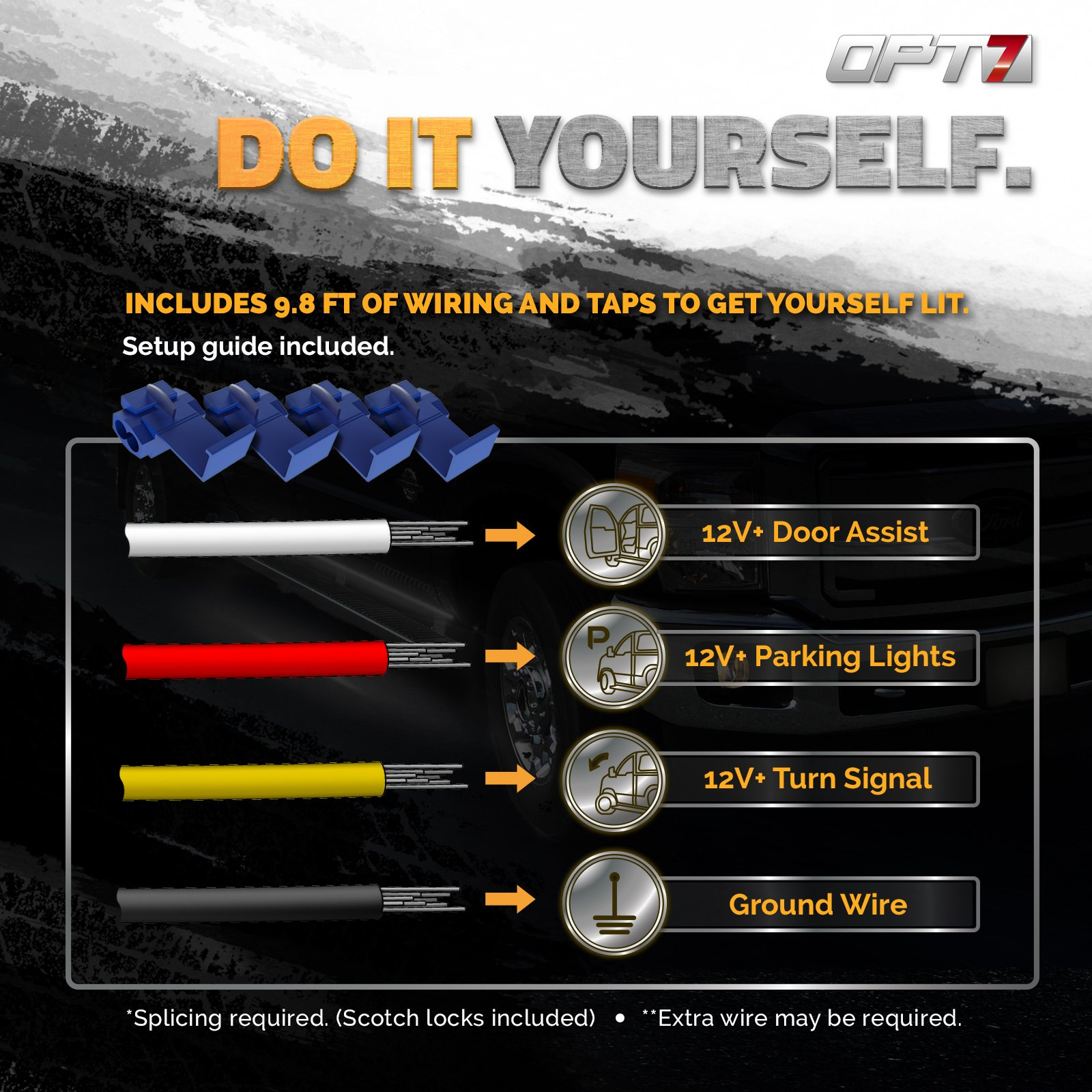 OPT7 2pc 60'' Side Kick Running Board LED Strips w/Amber Turn Signal, DRL, and White Courtesy Lights by OPT7 (Image #6)