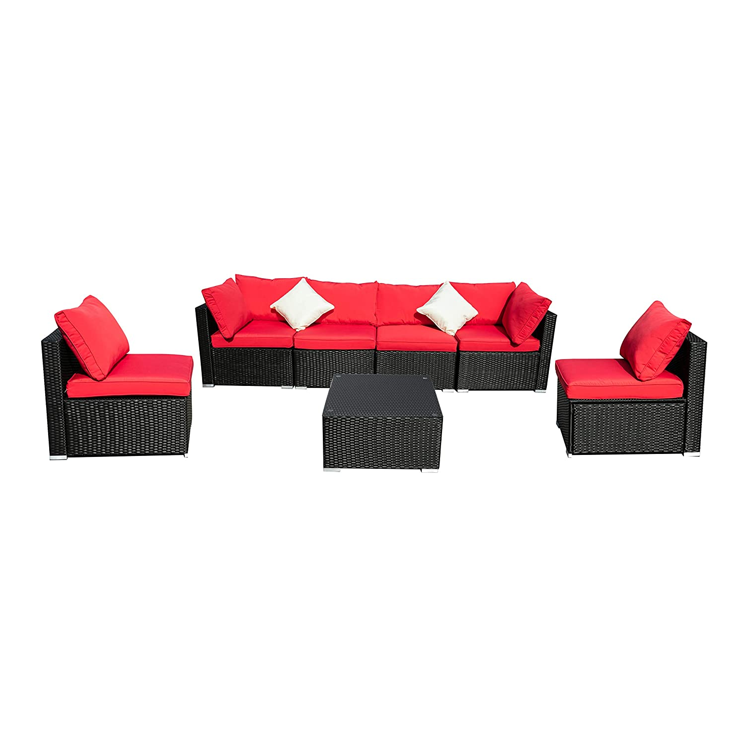 Tremendous Amazon Com Koolwoom Outdoor Patio Sectional Wicker Sofa Complete Home Design Collection Papxelindsey Bellcom