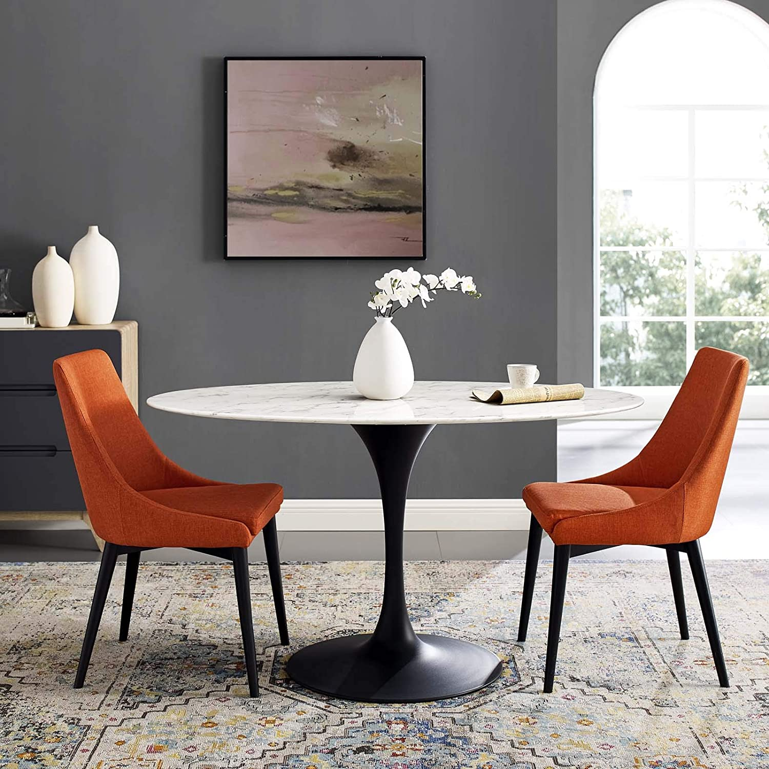 Amazon Com Modway Lippa 54 Oval Shaped Mid Century Modern Dining Table With Artificial Marble Top And Black Base Tables