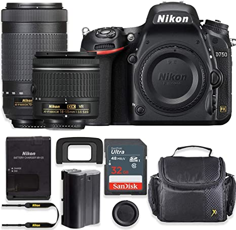 Nikon D750 Cámara DSLR de 24,3 MP con Lente VR AF-P de 18-55