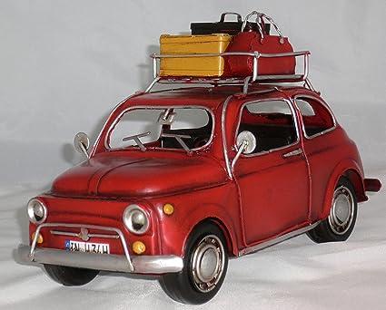Amazon Com Bsz Model Car Fiat 500 Red With Baggage Retro Tin