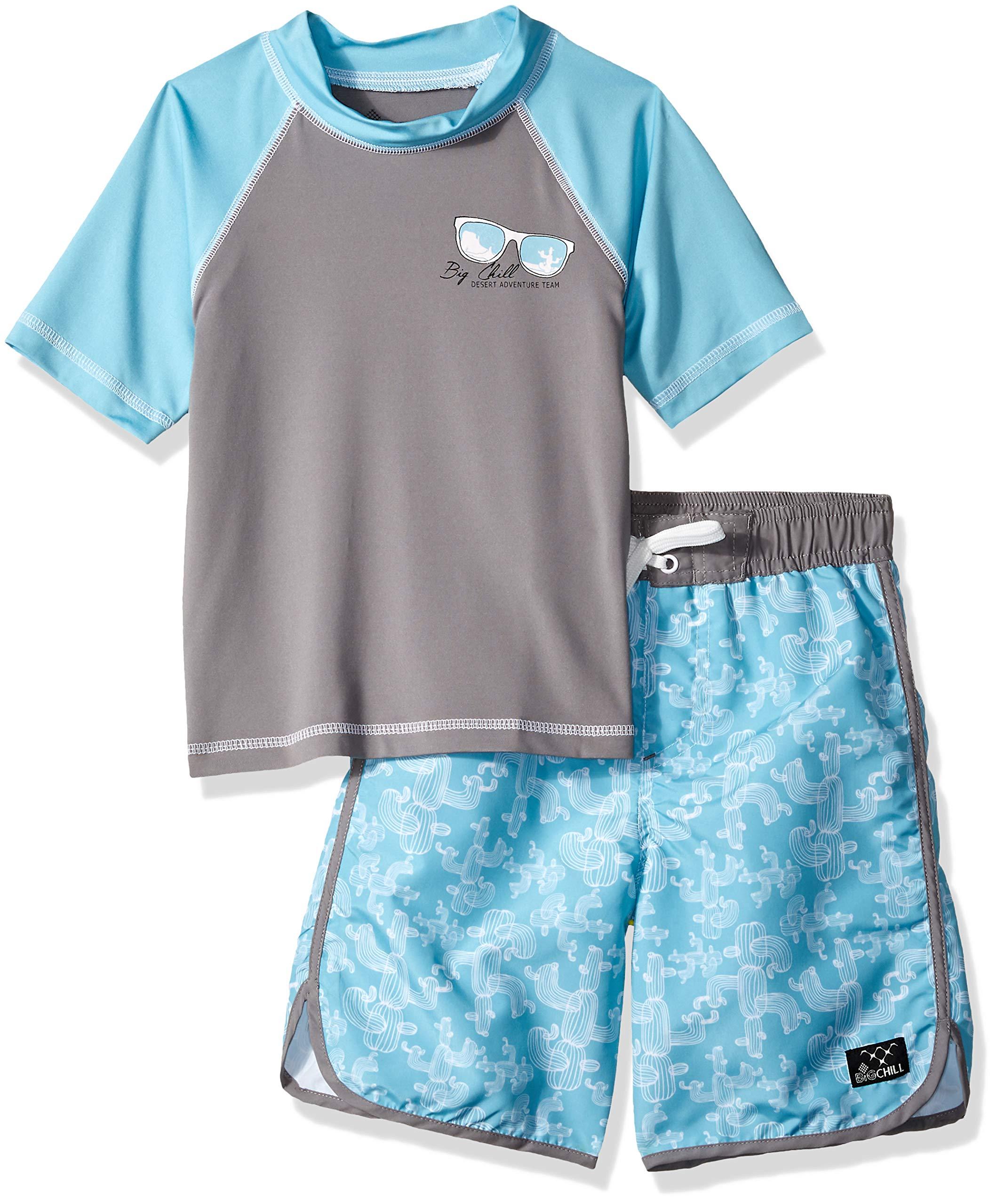 Big Chill Little Boys' Short Sleeve Rashguard Sets, Cactus Blue, 6