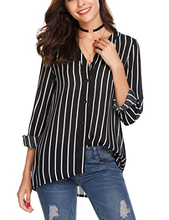 67df307e Zeagoo Women's Work Office Long Sleeve Button Down Blouse Vertical Stripe Shirt  V Neck Chiffon Tops