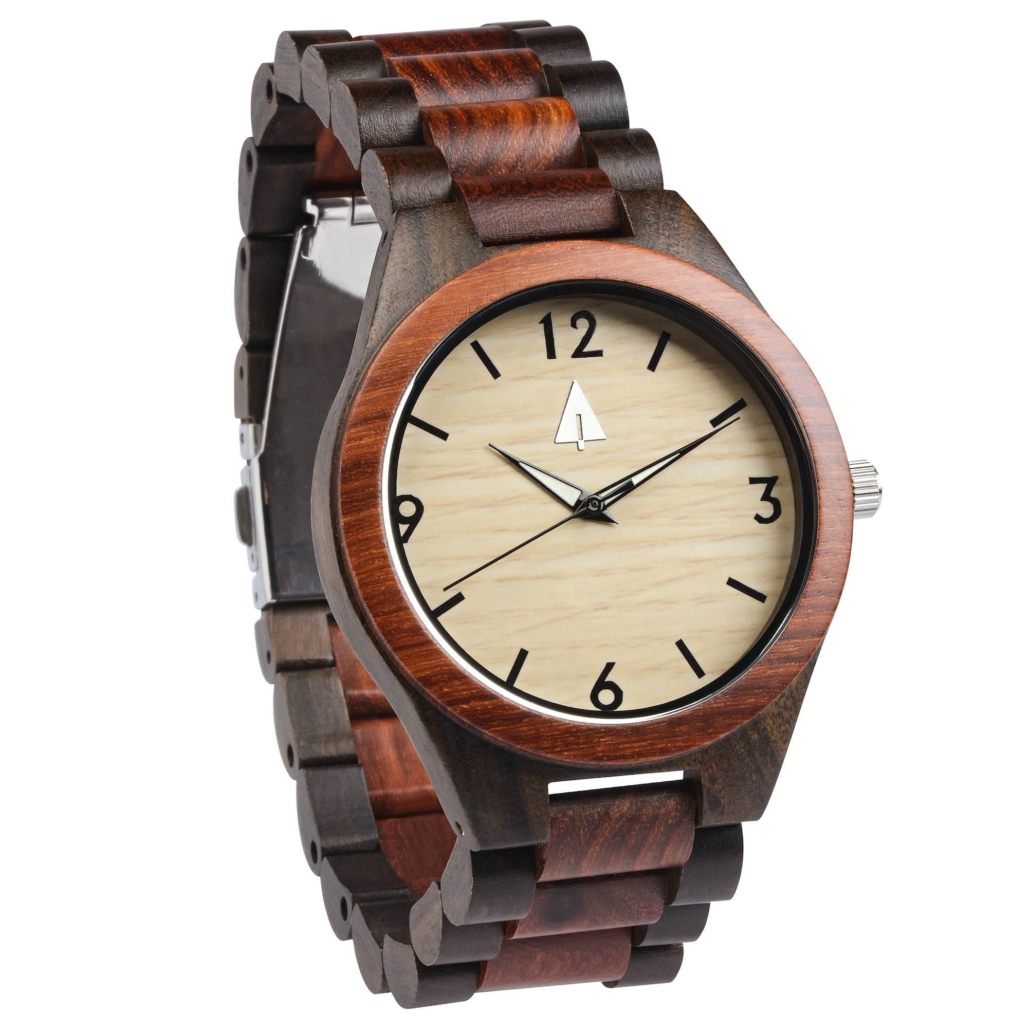 Treehut Men's Rosewood and Ebony Wooden Watch with All Wood Strap Quartz Anal...