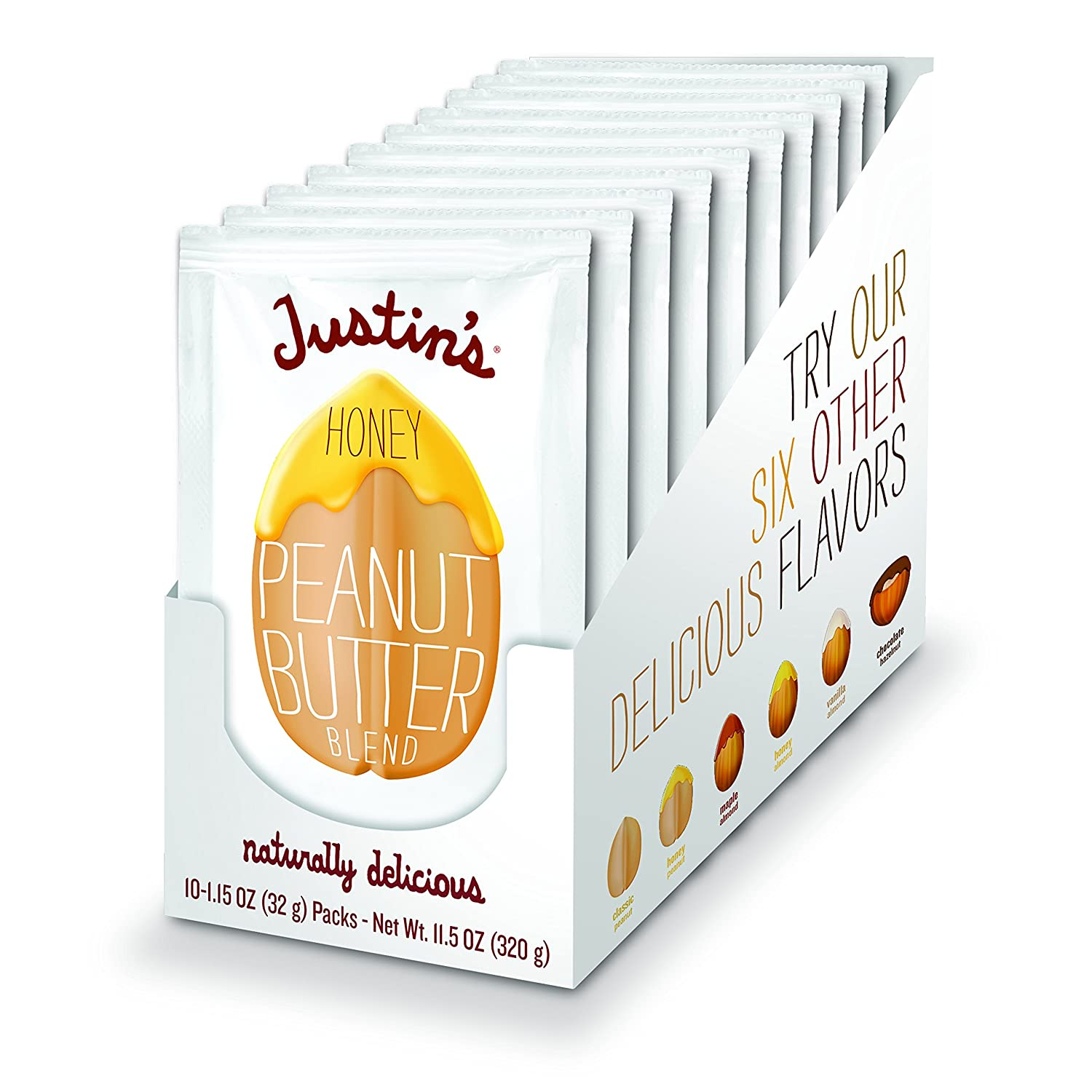 Justin's Honey Peanut Butter Squeeze Packs, Gluten-free, Non-GMO, Responsibly Sourced, Pack of 10 (1.15oz each)