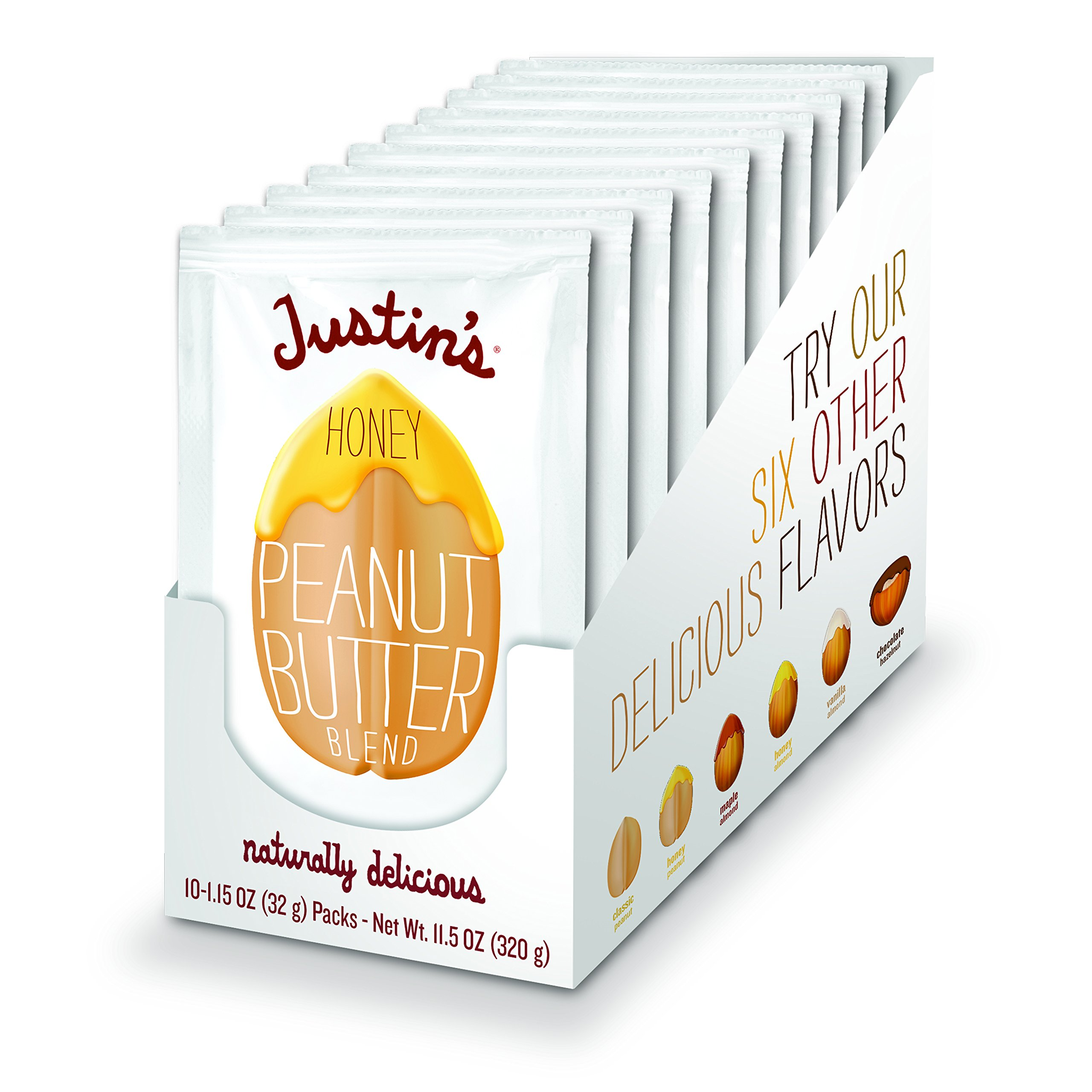Honey Peanut Butter Squeeze Packs by Justin's, Gluten-free, Non-GMO, Responsibly Sourced, Pack of 10 (1.15oz each)