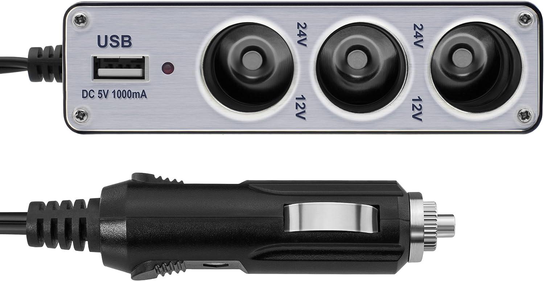 /Multi Funzione Auto 3/entrate Presa USB per Presa accendisigari 12/V//24/V mumbi Auto Caricatore Presa/