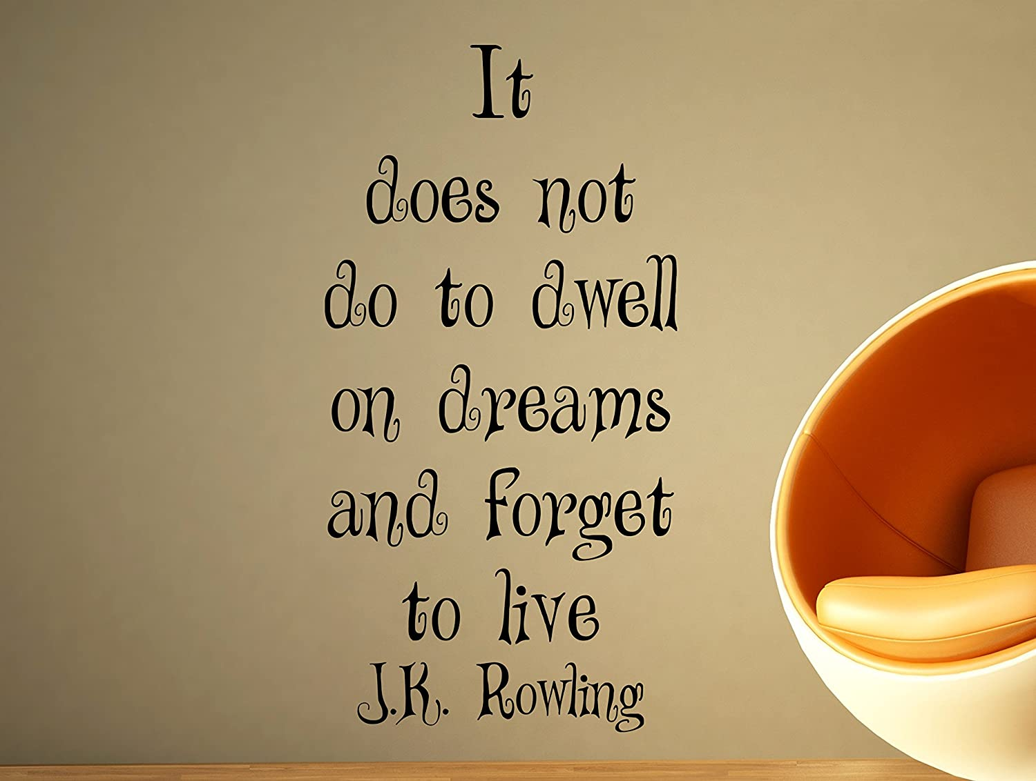 Amazon jk rowling motivational typography quote wall decal amazon jk rowling motivational typography quote wall decal office home decor it does not do to dwell on dreams 34x17 inches home kitchen amipublicfo Image collections