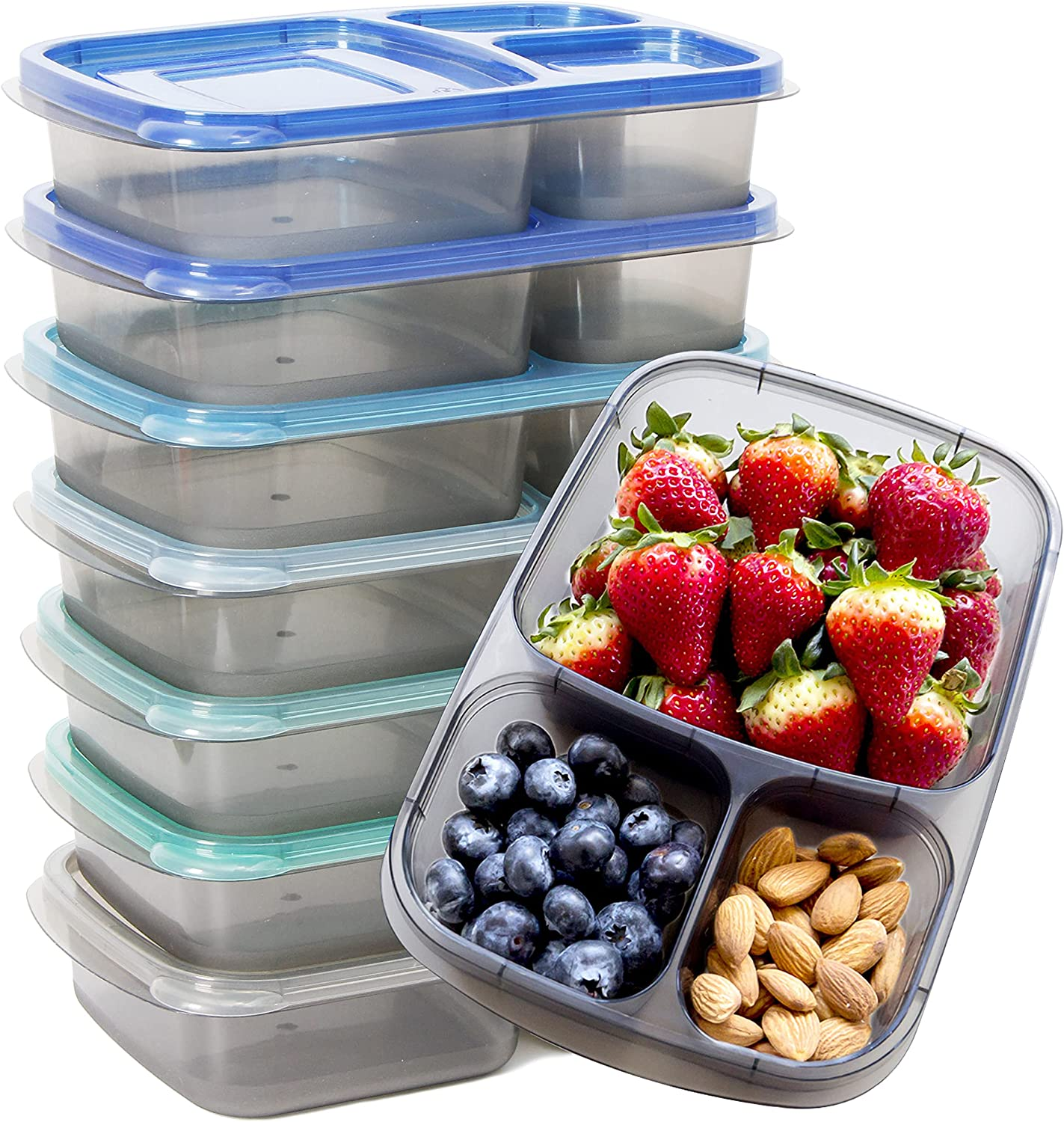 Youngever 7 Sets Bento Lunch Box, Meal Prep Containers, Reusable 3 Compartment Plastic Divided Food Storage Container Boxes