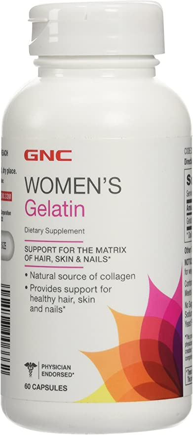 GNC Women's Gelatin, 60 Capsules, Supports Hair, Skin and Nails, Natural Collagen Source