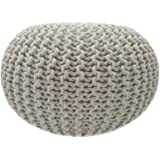 Casamia Knitted puffer seat, Puffer footrest, Knitted Pouf, Knitted Pouffe, small seat, footrest, footstool, diameter ca. 55cm / approx. 22 inch, extra high height ca. 37cm / approx. 15 inch, Linnen White