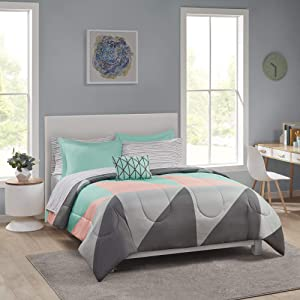 Grey & Teal Bed in a Bag Bedding Comforter Set with Sheet Set, Queen