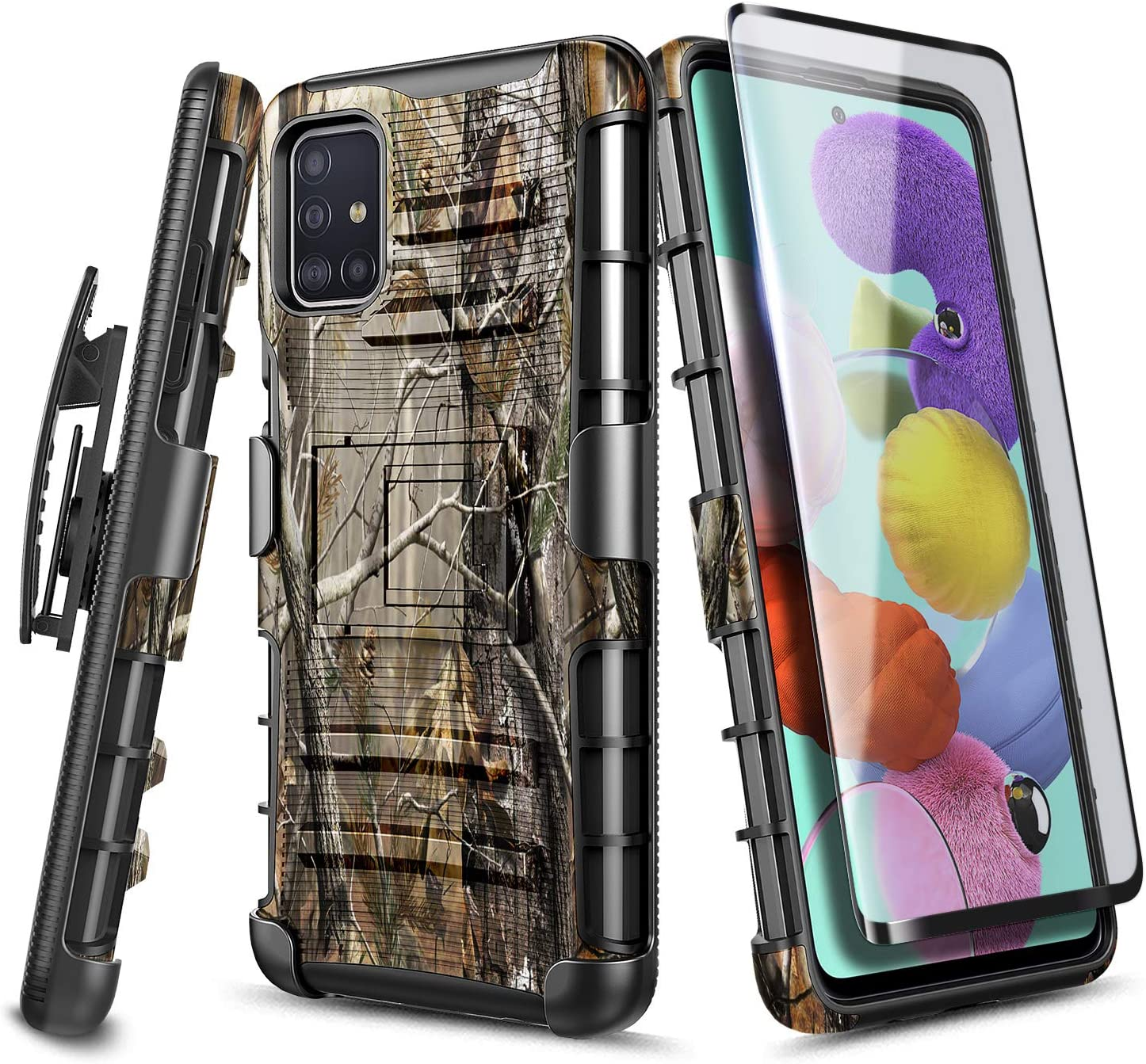 E-Began Case for Samsung Galaxy A51 [Not Fit A51 5G Version] with Tempered Glass Screen Protector (Full Coverage), Belt Clip Holster w/Kickstand Heavy Duty Armor Defender Shockproof Rugged Case -Camo