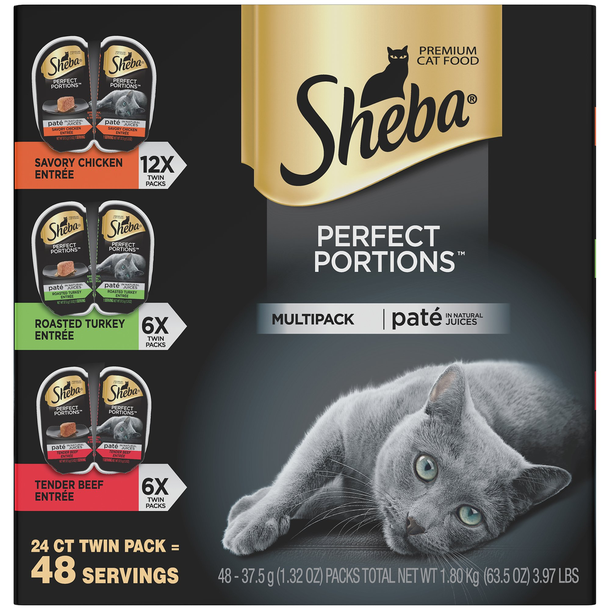 SHEBA PERFECT PORTIONS Soft Wet Cat Food Paté in Natural Juices Savory Chicken, Roasted Turkey, & Tender Beef Entrées Variety Pack, (24) 2.6 oz. Easy Peel Twin-Pack Trays by Sheba Wet Food